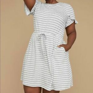 Lane Bryant grey and white casual dress